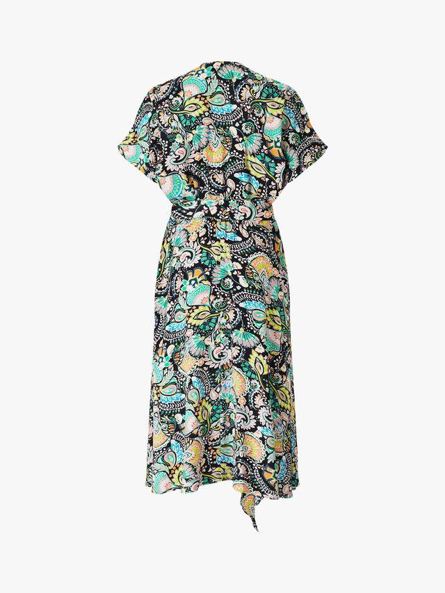 Paullo Midi V Neck Belted Dress