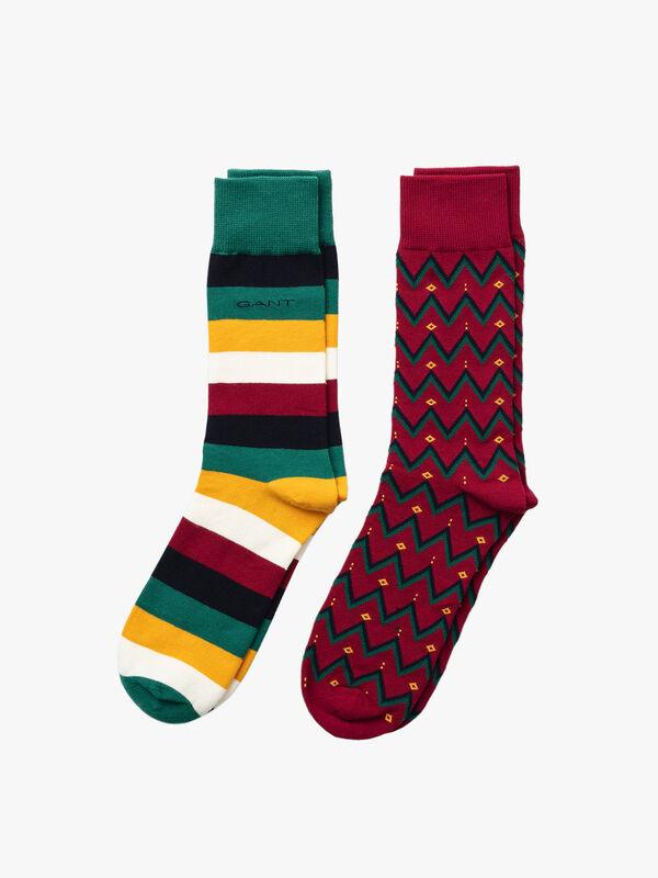 2 Pack Fair Isle Socks Gift Box