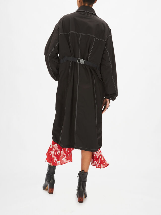 Contrast Stitch Trench Coat