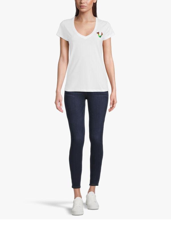 Multi Colour Foil Slim V Neck T-Shirt