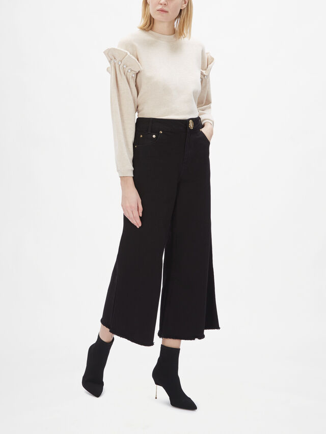 Cropped Wide Leg Denim Trouser