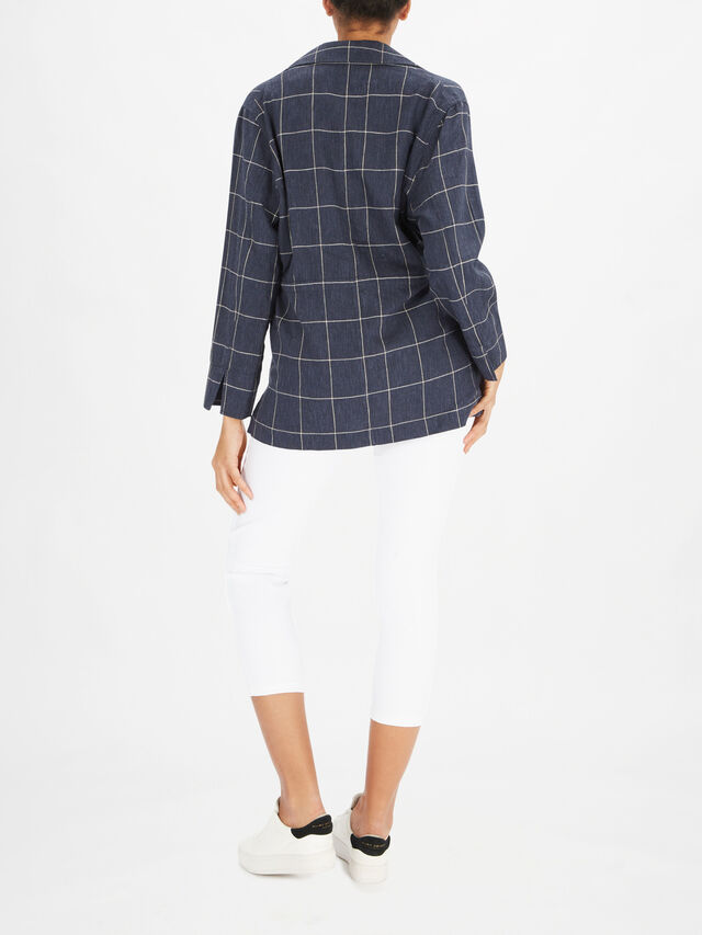 Jaffa V Neck Linen Check Shacket with Tie Waist