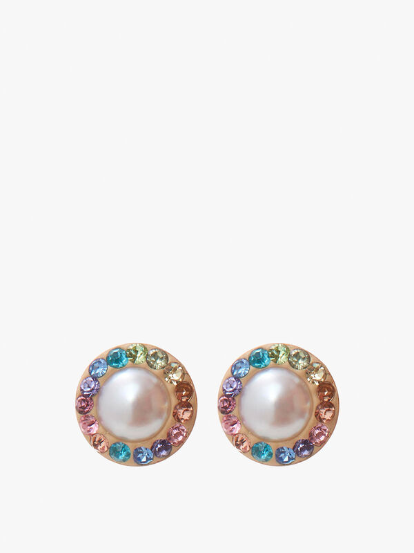 Pearl and Rainbow Stud Earrings