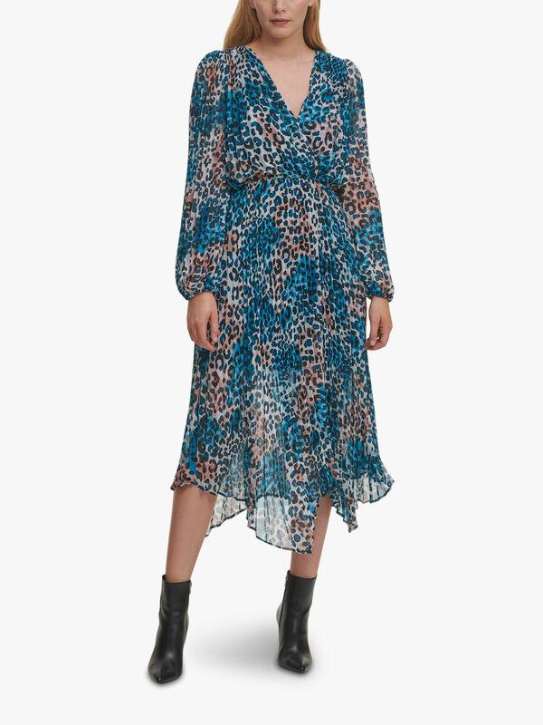Printed Pleated Midi Dress