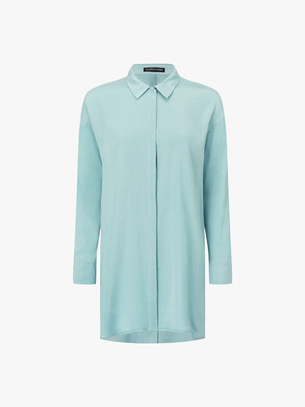Classic Collar Long Silk Shirt