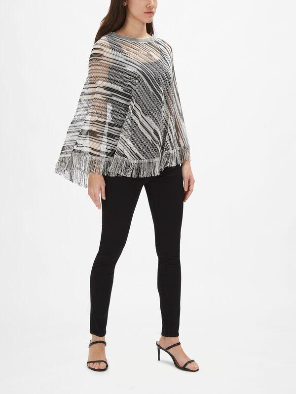 Sheer Diagonal Stripe Poncho