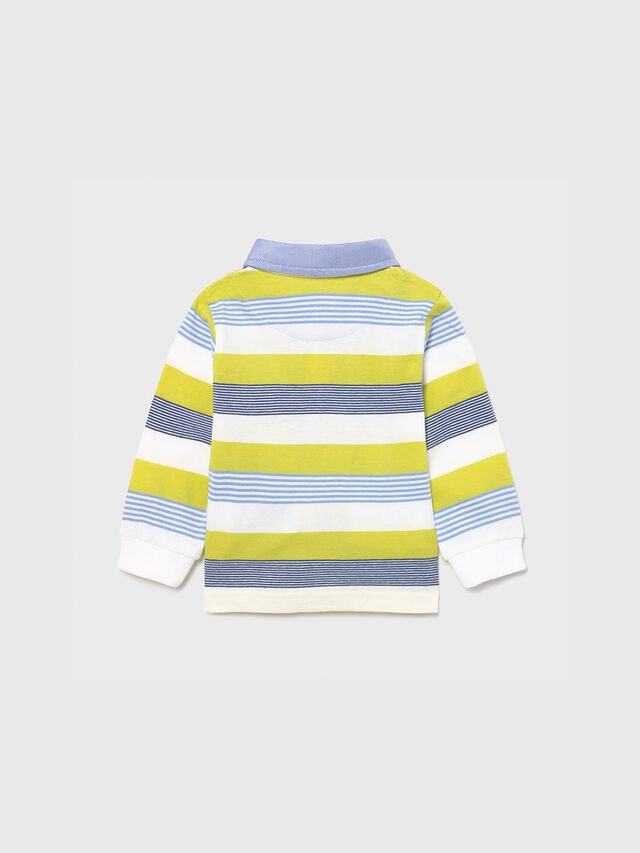 Stripe Polo with Chambray Collar