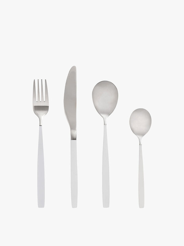 White Silver Cutlery 4 Piece Set