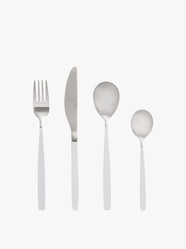 White Silver Cutlery 4 Piece Set