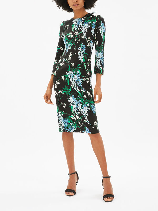 Knot Detail Wisteria Print Pencil Dress