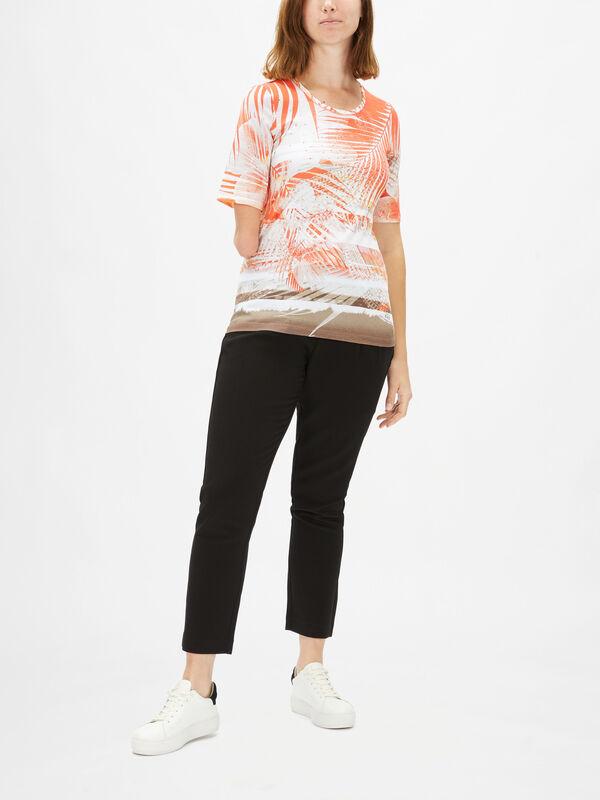 Palm Leaf Jersey Top Short Sleeve