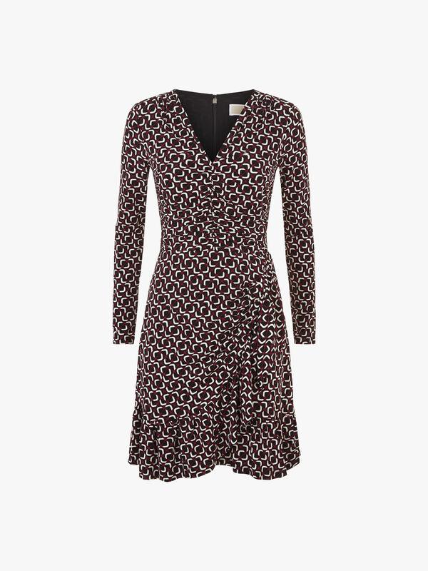Mod Foulard Print Long Sleeve Dress
