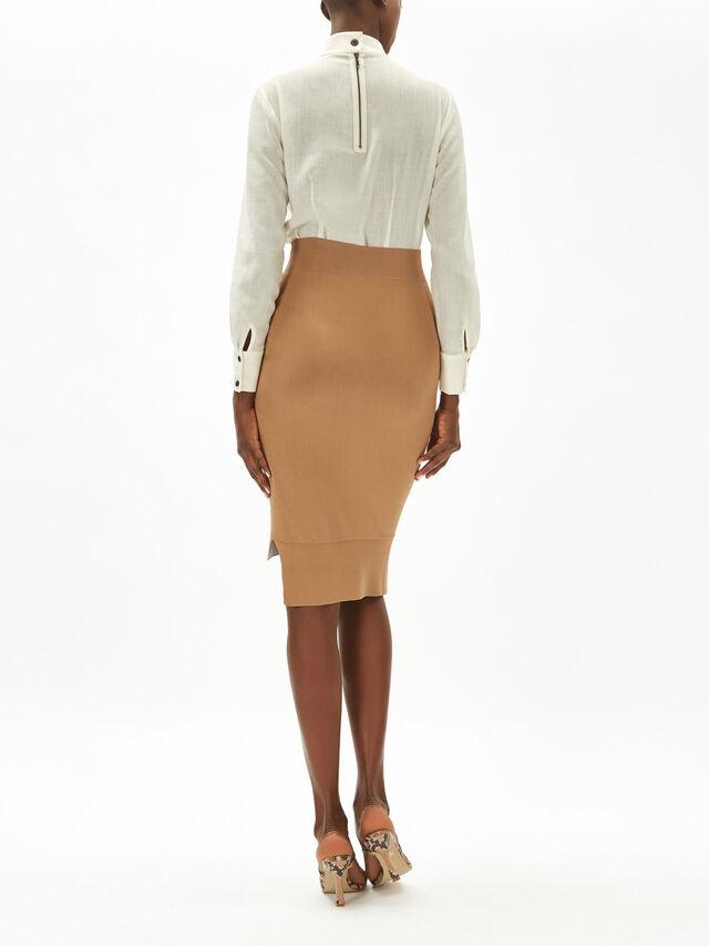 Contrast Colour Block Compact Knit Skirt