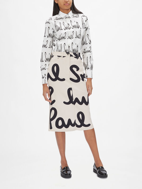 Paul Smith Print Denim Midi Skirt