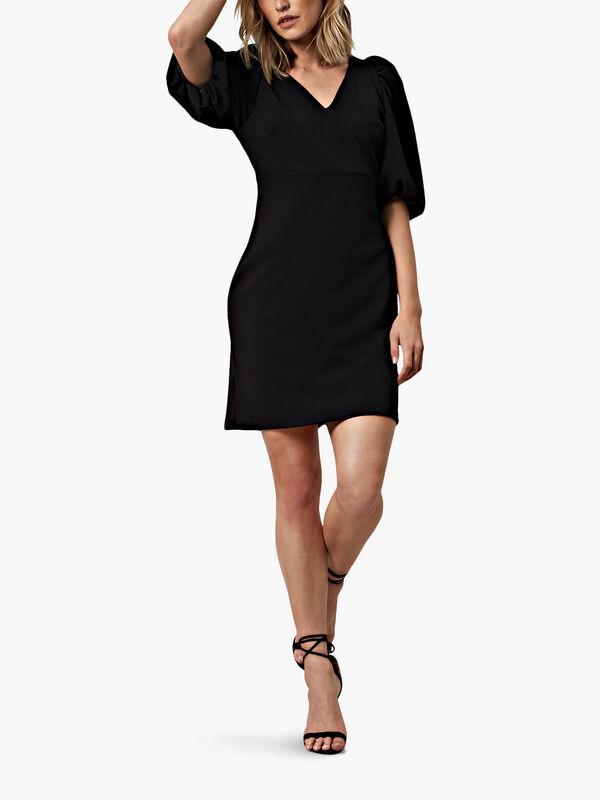 Puff Sleeve V-Neck Dress
