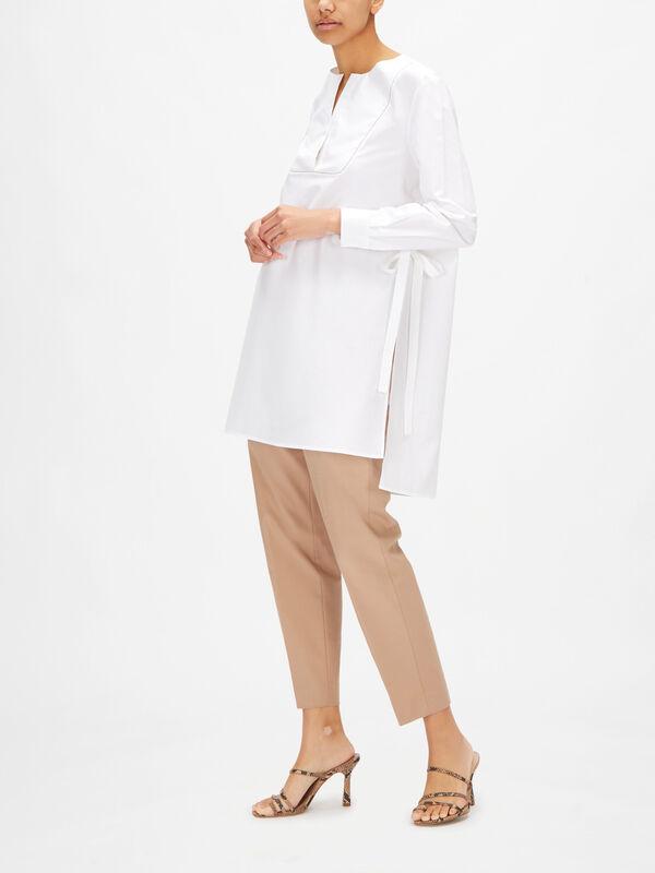Cotton Poplin Longline Tunic With Embellished Bib Detail