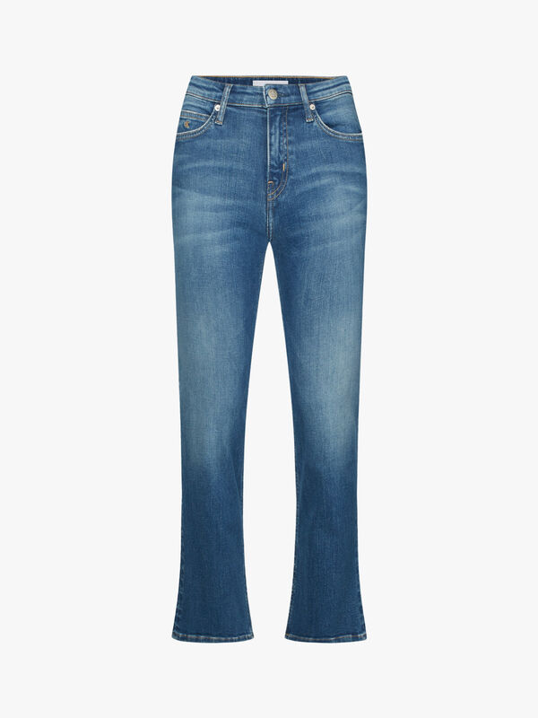 Mid Rise Skinny Crop Flare Jeans