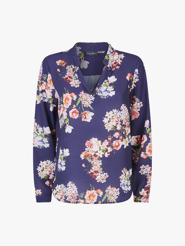 Mandarin Collar Print Blouse