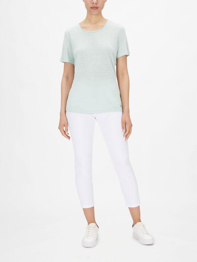Round Neck Linen Blend T Shirt