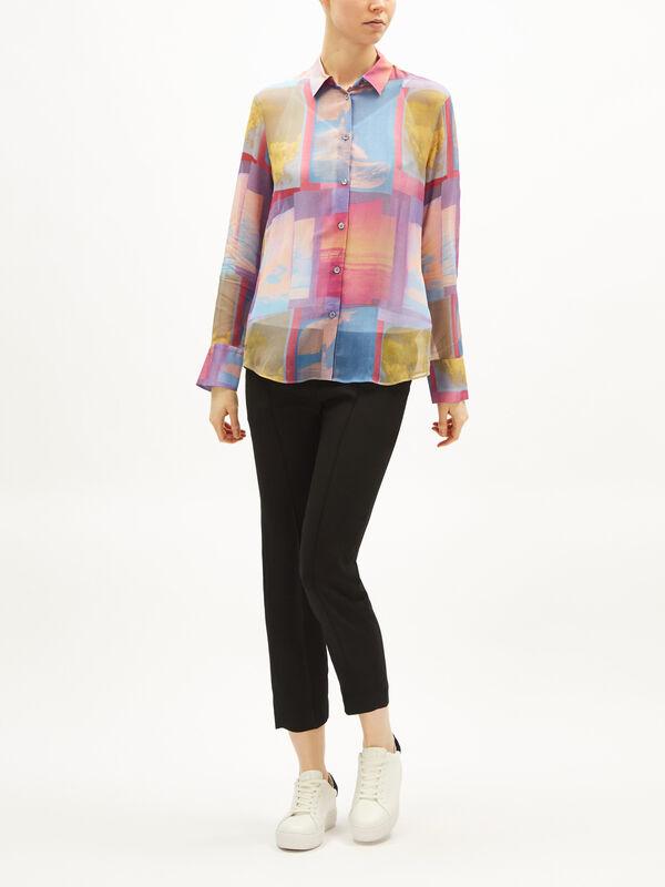 Sheer Colour Block Print Shirt
