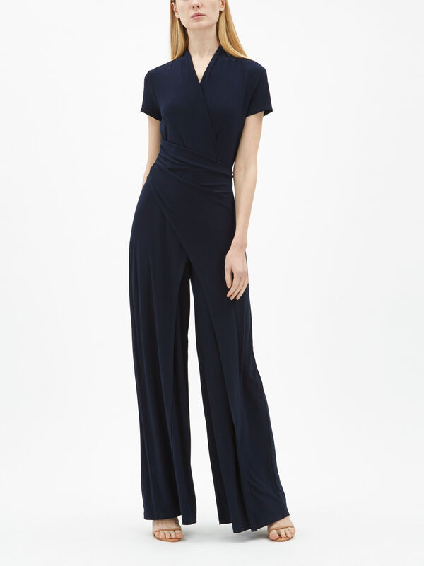 Jersey Overlay Wrap Jumpsuit