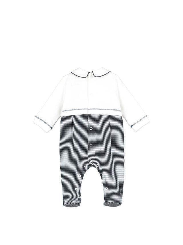 Stripe Bear Embroidered Babygrow