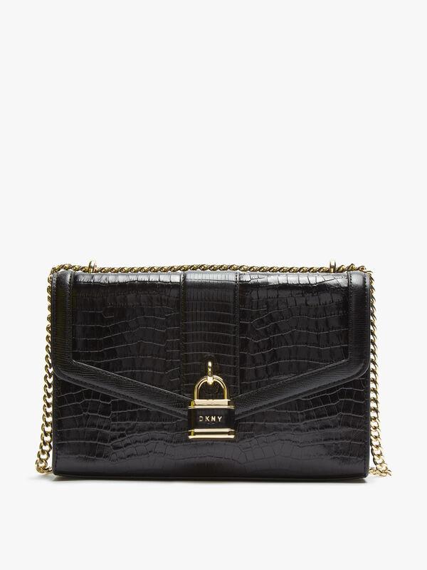 Ella Croc Large Shoulder Flap Bag