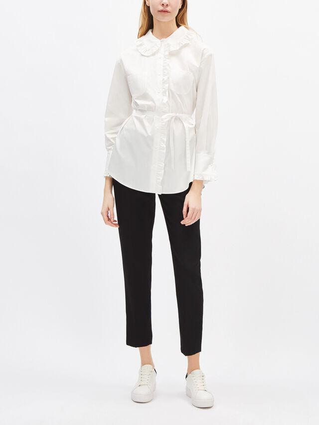 Cotton Ruffle Collar Blouse