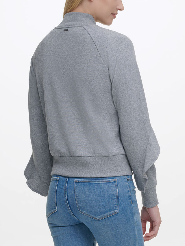 Ruffle Zip Thru Sweatshirt