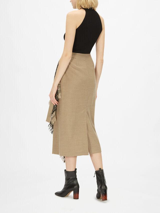 Check Wrap Midi Skirt with Fringe Detail