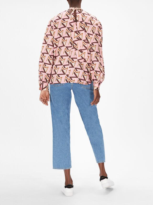 Geometric Print Pussy Bow Short Dress