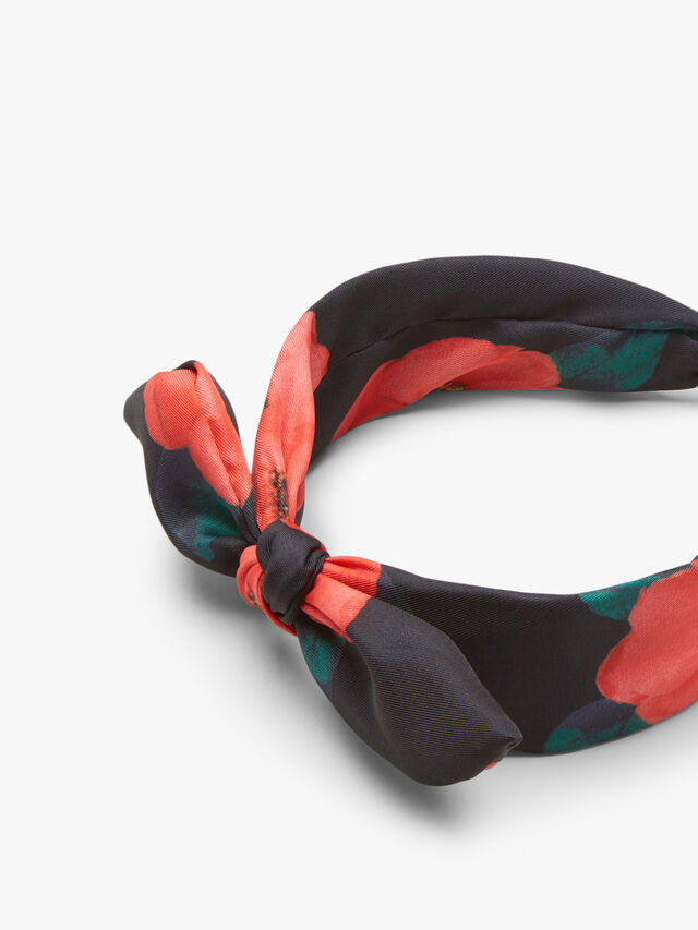 Knotted Bow Floral Print Headband