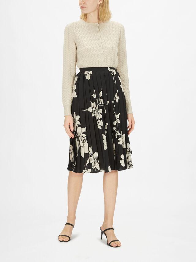 Larix Printed Pleat Midi Skirt