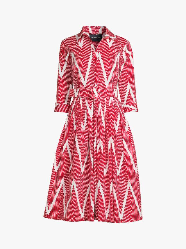 Collared Chevron Dcor Long Dress