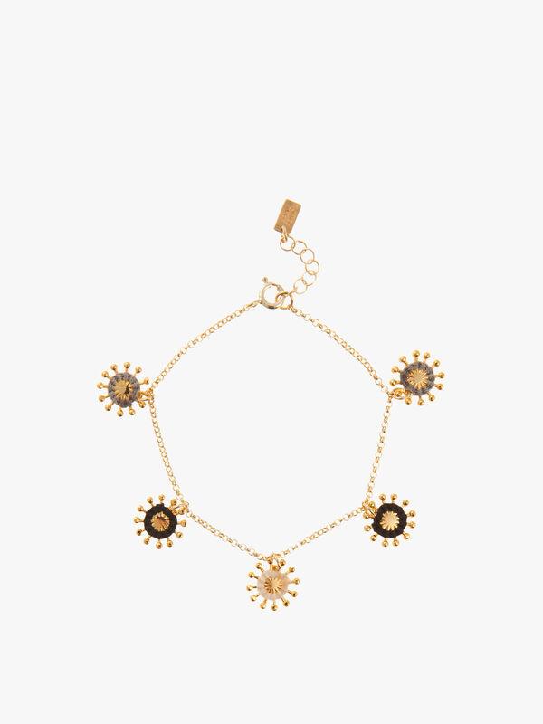Multi Sunburst Charm Chain Bracelet