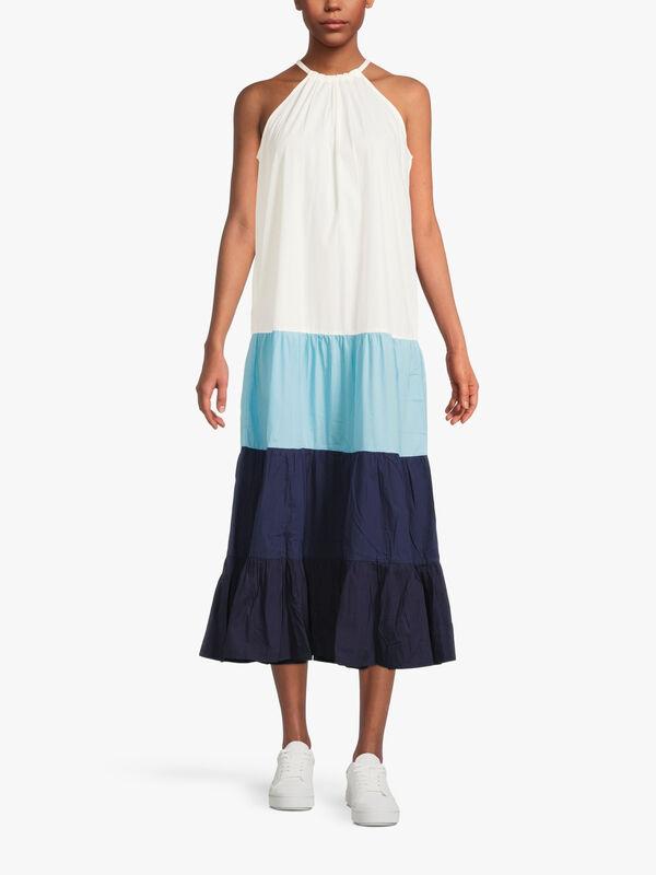 Sea Blues Colour Block Trapeze Dress