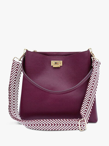 Mulberry Leather Tote Bag with Mulberry Chevron Strap