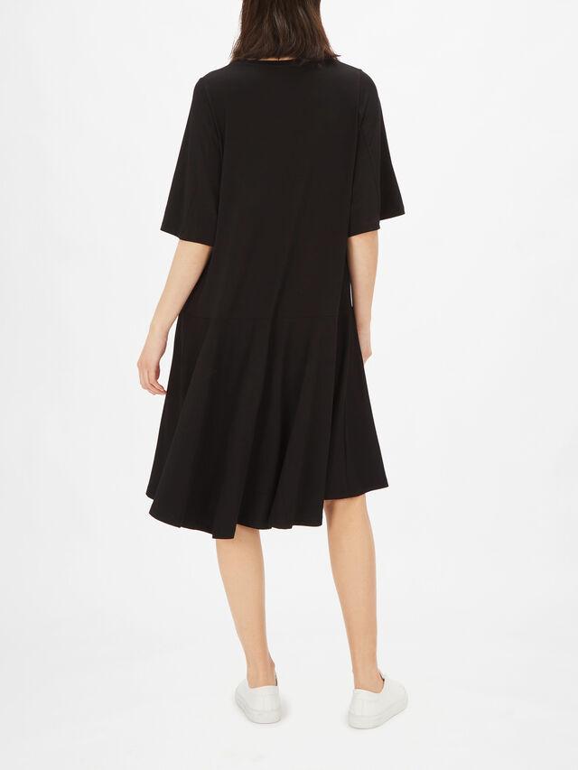 Nessana Crop Sleeve A Line Jersey Midi Dress