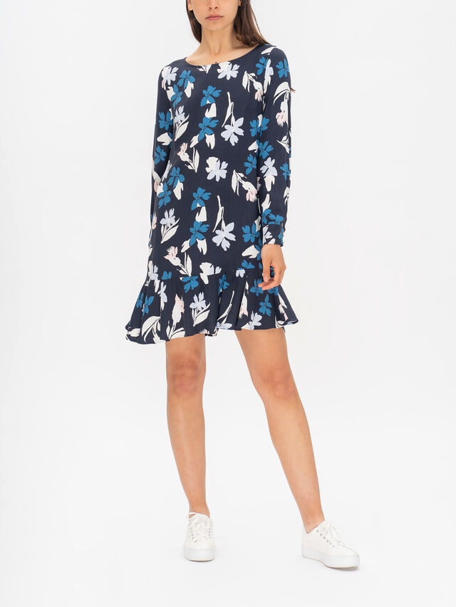 Lapponia Printed Long Sleeve Crepe Dress