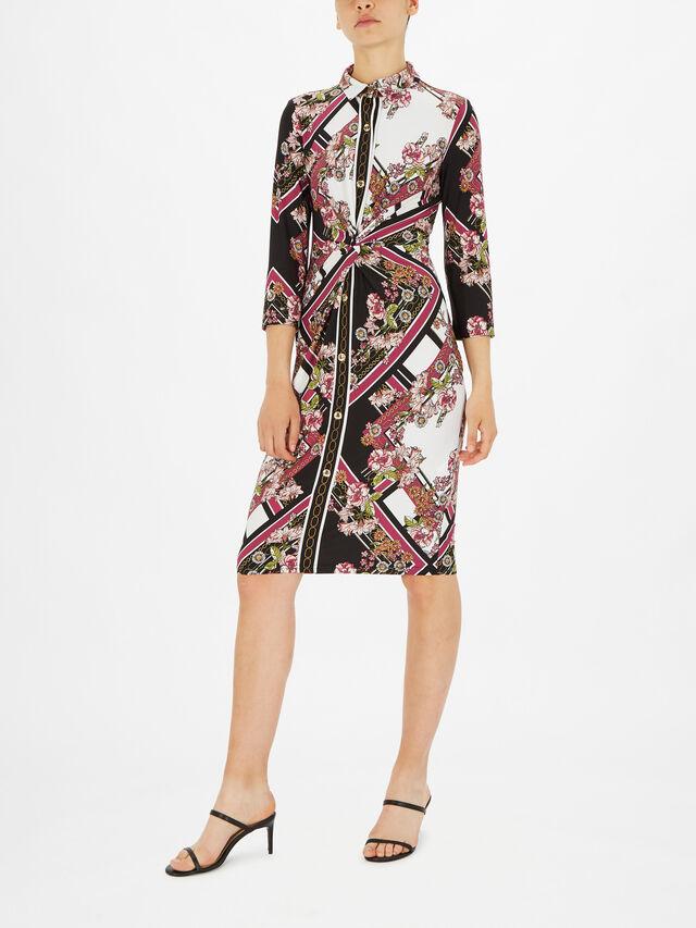 Scarf Print Twist Front Midi Shirt Dress