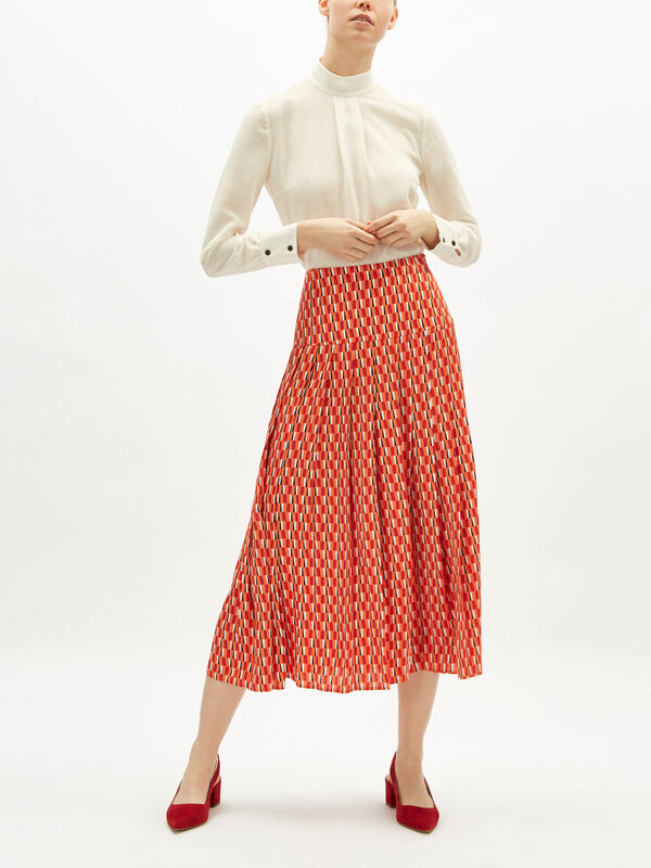 Geo Print Satin Pleat Midi Skirt