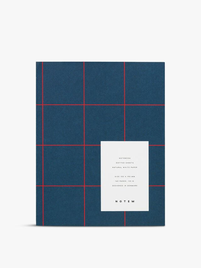 Uma Navy Grid Small Notebook Ruled Pages