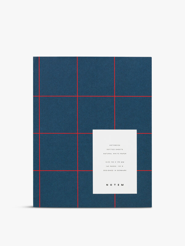 Uma Blue Grid Medium Notebook Dot Pages