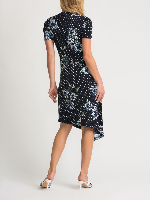 Dot and Flower Print Ruched Shsl Dress