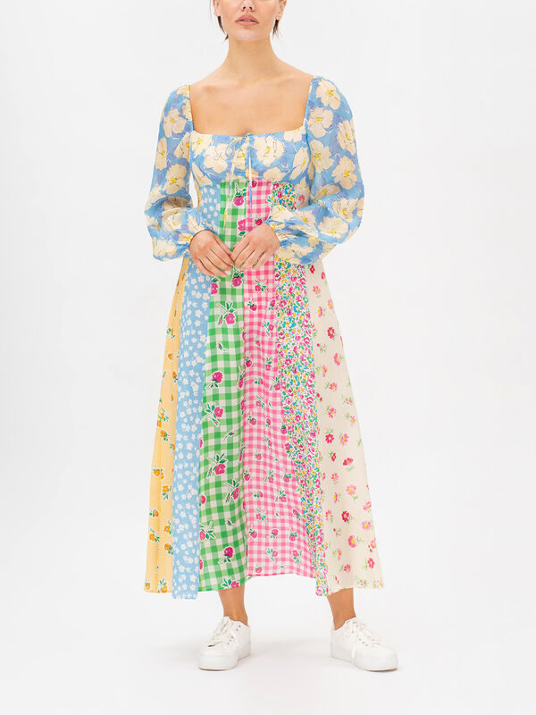 Ivy Rainbow Floral Puff Sleeve Dress