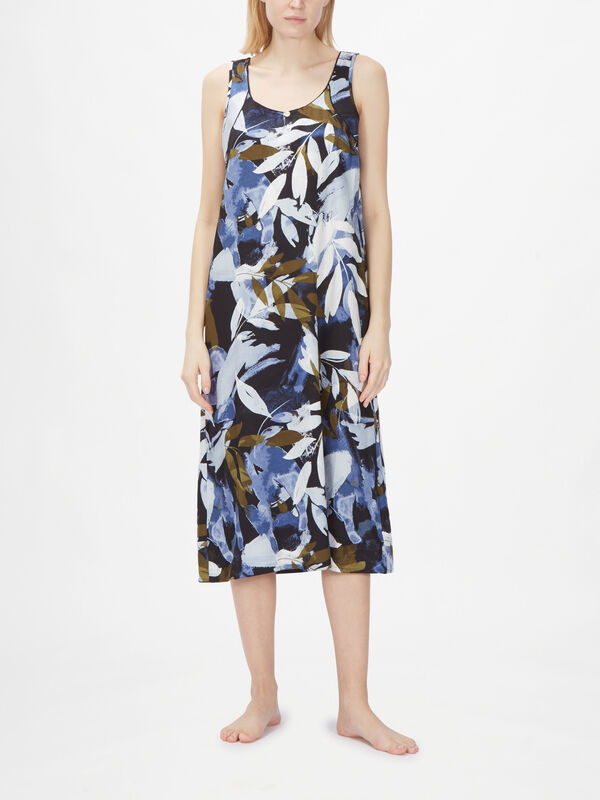 Kensington Abstract Leaf Print Long Nightdress