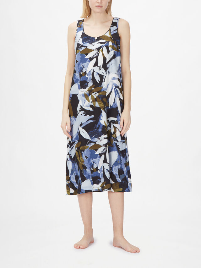Kensington Abstract Leaf Print Long Nightdress