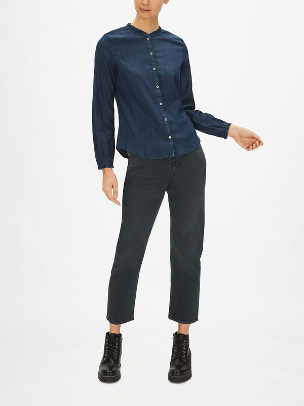 Collarless Button Down Denim Shirt