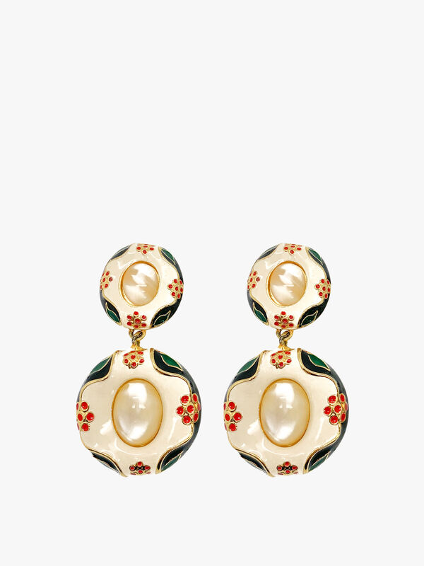 Vintage Moschino Enamel and Mother of Pearl Earrings