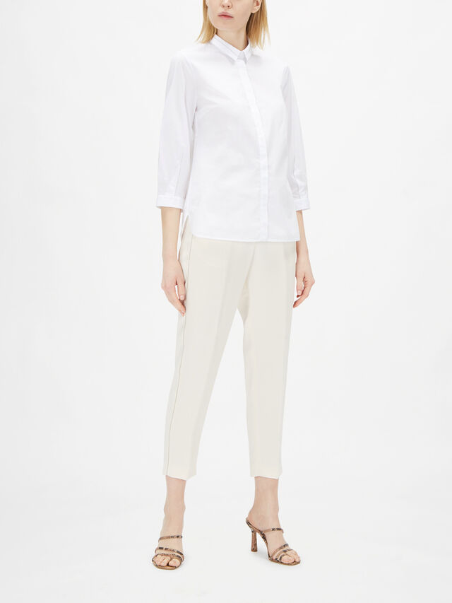 Cotton Poplin Shirt With Embellished Collar